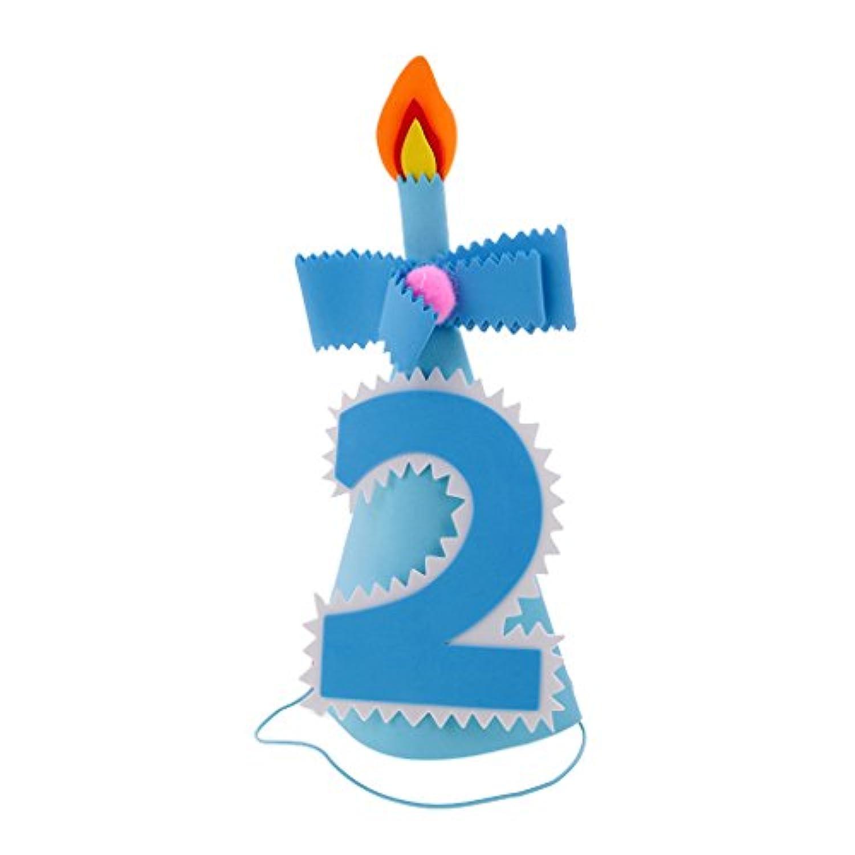 ノーブランド品 赤ちゃん 幼児 誕生日 パーティー 帽子 コーン 全2色3種類 - 数字2, ブルー