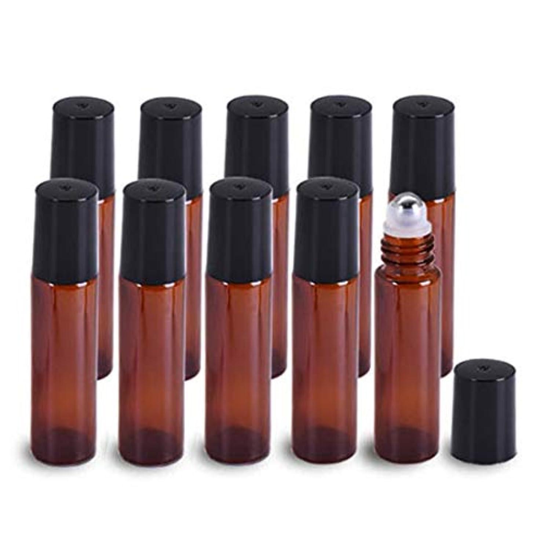 通行人木製好意Yiteng ロールオンボトル アロマオイル アロマボトル ガラスロールタイプ 遮光瓶 保存容器 小分け用 茶色 収納ケース付き 10ml 10本セット