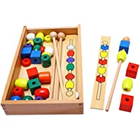 ?av 木製教育用木製ビーズシーケンシングボックス カラー DIY 幾何学形状 数学玩具 早期教育 誕生日プレゼント