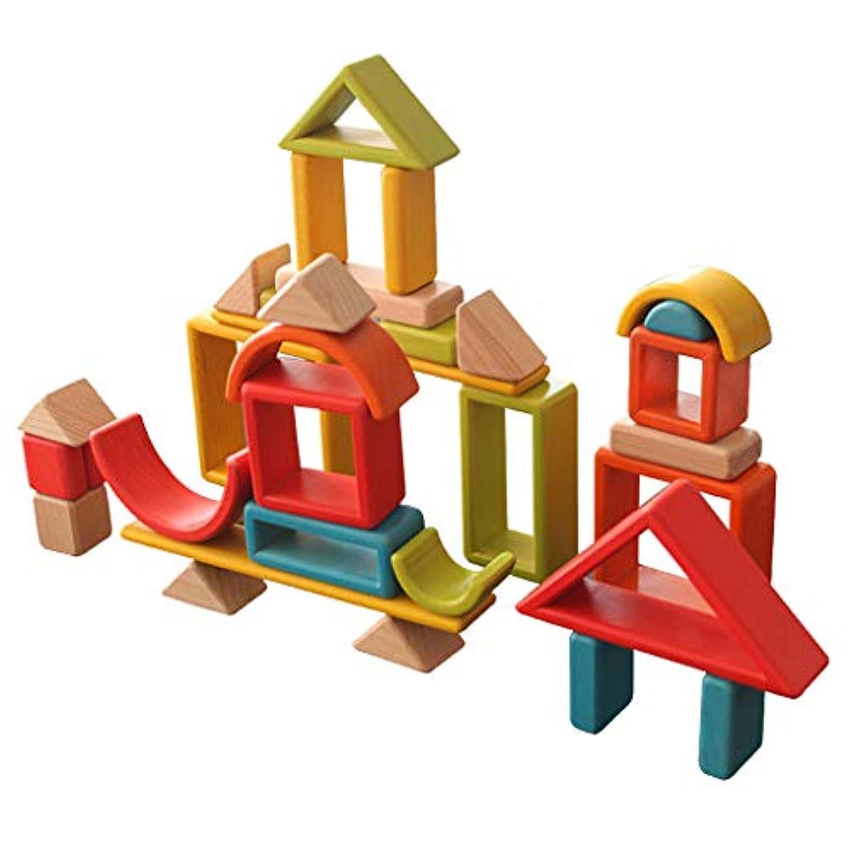 KESOTO 32個セット 幼児おもちゃ 木製 カラフル 虹ブロック スタッキングブロック