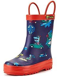 [TideWe] タイドウィー キッズ レインブーツ 子供用長靴 男の子 女の子 雨靴 滑り止めレインシューズ ハンドル付きブーツ 通園?通学?アウトドア遊び用 梅雨対策
