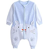 quavey Baby Sleeping Bagコットン長袖Wearable Blanket withフィート M(80cm) ブルー