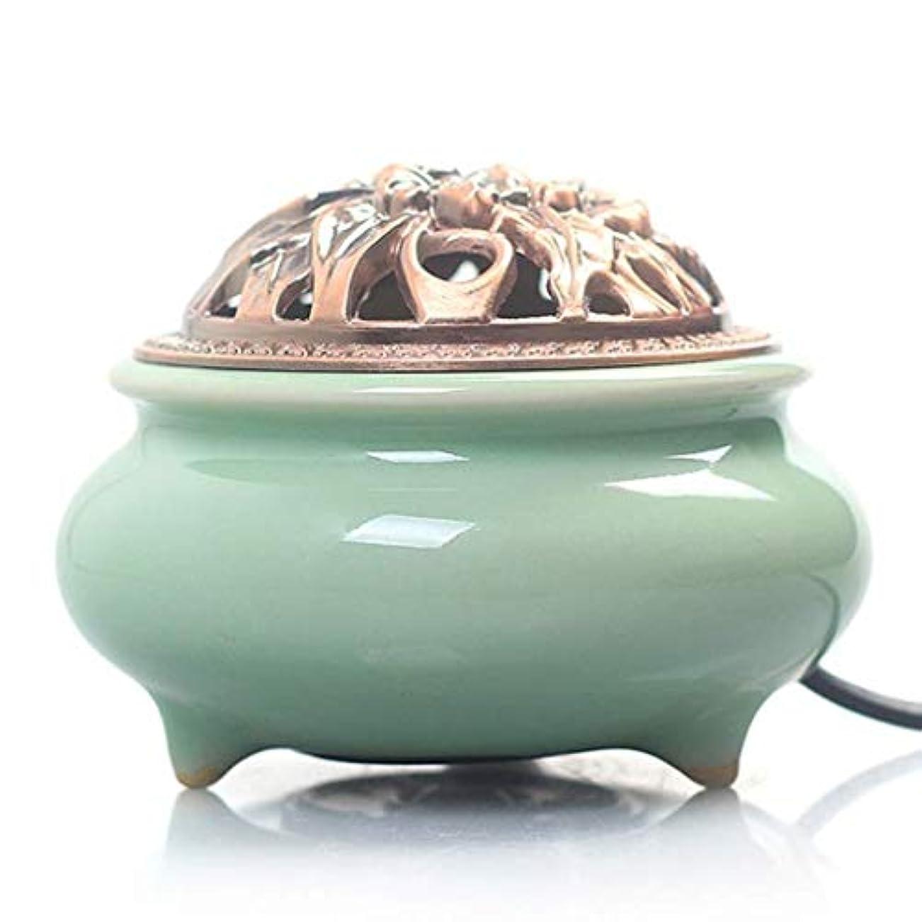 思いやりびっくり塊MYTDBD 電子香炉陶器アロマ炉ホームエッセンシャル (Color : Green, Size : Peony cover)