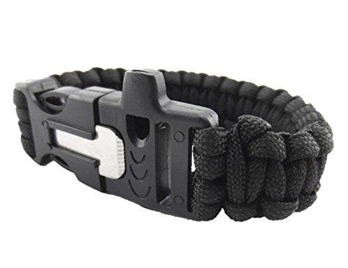 サバイバルブレスレット 多機能ブレスレット ファイヤースターター 火打石 ホイッスル スクレーパー (ブラック)