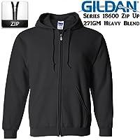 Gildan Black Zip up Hoodie Heavy Blend Blank Plain Hooded Sweatshirt Sweater Men