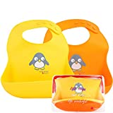 NatureBond Waterproof Silicone Baby Bibs (2 pieces) With Waterproof Pouch