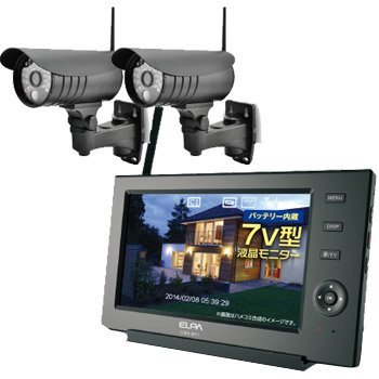 ELPA ワイヤレス防犯カメラ2台&モニター【オリジナルセット】 CMS-7110-C71シリーズ