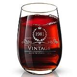 誕生日プレゼント 1981年 37歳 37年目 男性 女性 ギフト 創業記念品 結婚記念日祝い パーティー バー 赤ワイングラス 食洗機対応 24K金メッキ 一個入