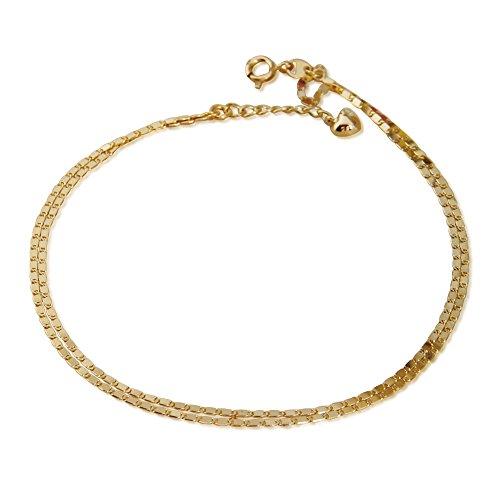 RISAcystal(リサクリスタル) ゴールドシャネルチェーン 2連アンクレット 18金 K18 イエローゴールド(アジャスター付)