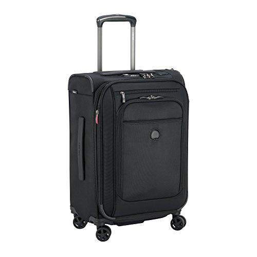DELSEY デルセー ソフトスーツケース 機内持ち込み フロントオープン 拡張可能 軽量 スーツケース ソフトキャリーケース 小型 sサイズ キャリーバッグ PILOT WW 10年国際保証 (ブラック/45L)