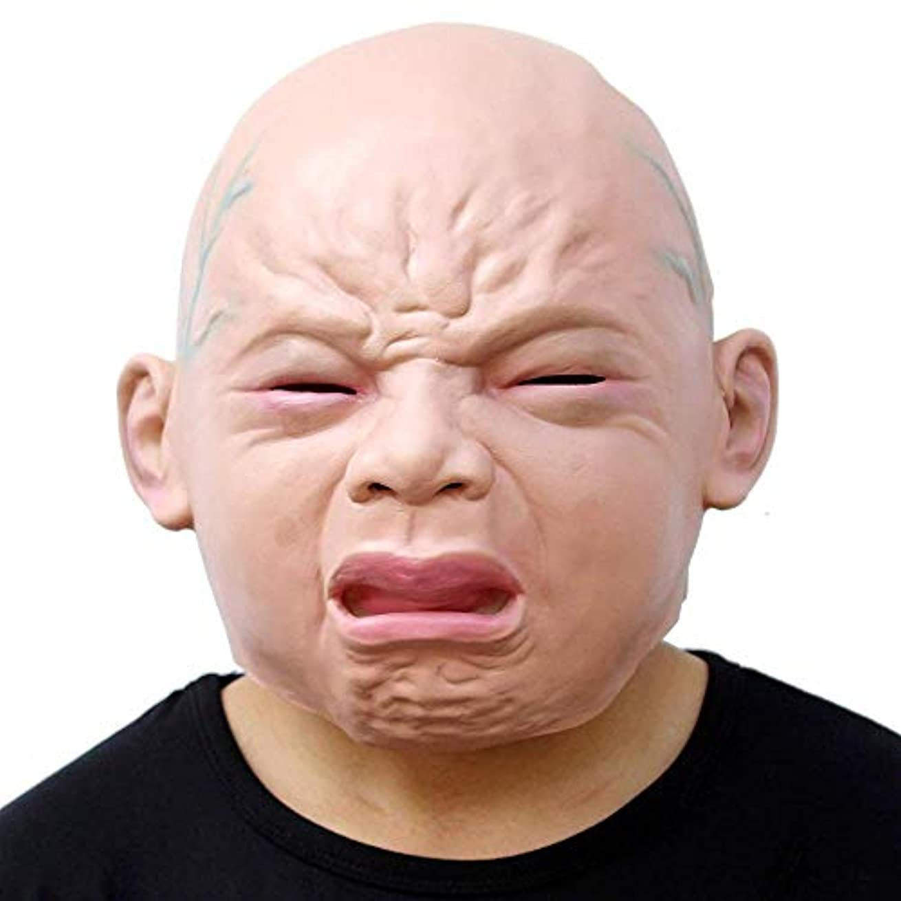 トラフィック爆弾モロニックノベルティハロウィーンコスチュームパーティーラテックスヘッドマスク赤ちゃんの顔、パーティーホラーコスプレ衣装の小道具-泣いている赤ちゃん、大人の子