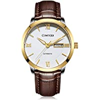 Comtex Men's Automatic Watches Gold Dial with Week&Date Citizen Movement Brown Leather Dress Watches