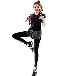 AOX BRRAEL シリーズ スポーツ トレーニング ヨガ ウェア レディース 上下 パンツ 半袖 セット アップ 2点セット/半袖 Tシャツ スポーツブラ ショートパンツ レギンスパンツ 3点セット