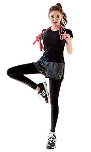 AOX BRRAEL シリーズ スポーツ トレーニング ヨガ ウェア レディース 上下 パンツ 半袖 スポーツブラセット アップ 3点セット スポーツブラ フィットネス吸汗速乾 胸が揺れない (スポーツウェア 3点 セット(L))