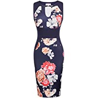 Belle Poque Women Vintage Floral Pattern Sleeveless V-Neck Pencil Dress BP431