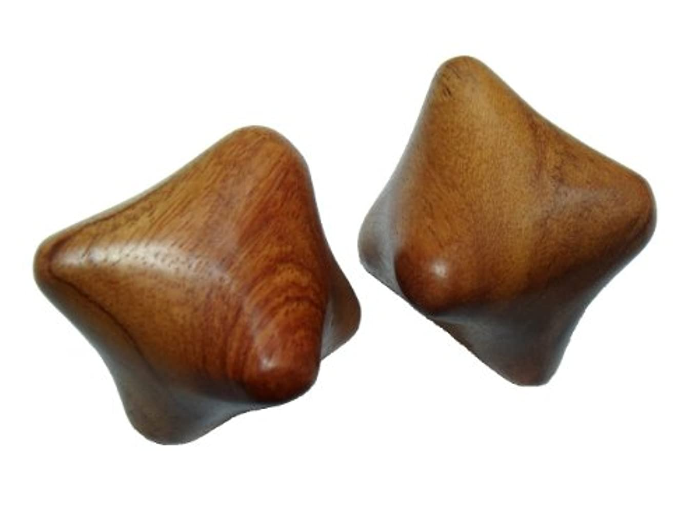 りんごライバル唯物論ウッドマッサージ棒 六角玉タイプ 2個セット