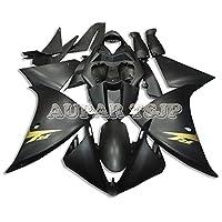 AUPARTSJP ABS樹脂射出オートバイ外装部品セット適応フルフェアリングキットフィットヤマハYZF 1000 R1 年09-14 2010 2011 2012 2013 2014 YZF R1マットブラックとゴールドデカール新しい