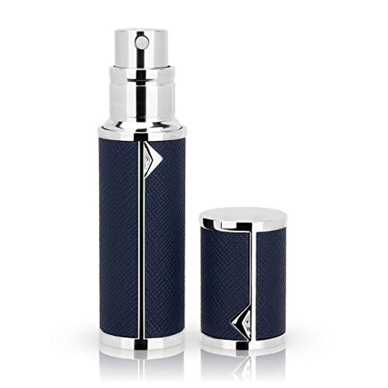 オゾンダーツ欠員アトマイザー 香水アトマイザー 詰め替え Louischanzl 香水噴霧器 2-2.5mm径 5ml PUレザー レディース メンズ (紺色DarkBlue)