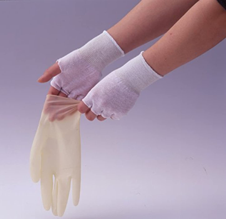 者葉を拾う感謝祭やさしインナー手袋 (綿100%指なし) 200組/カートン 激安業務用パック