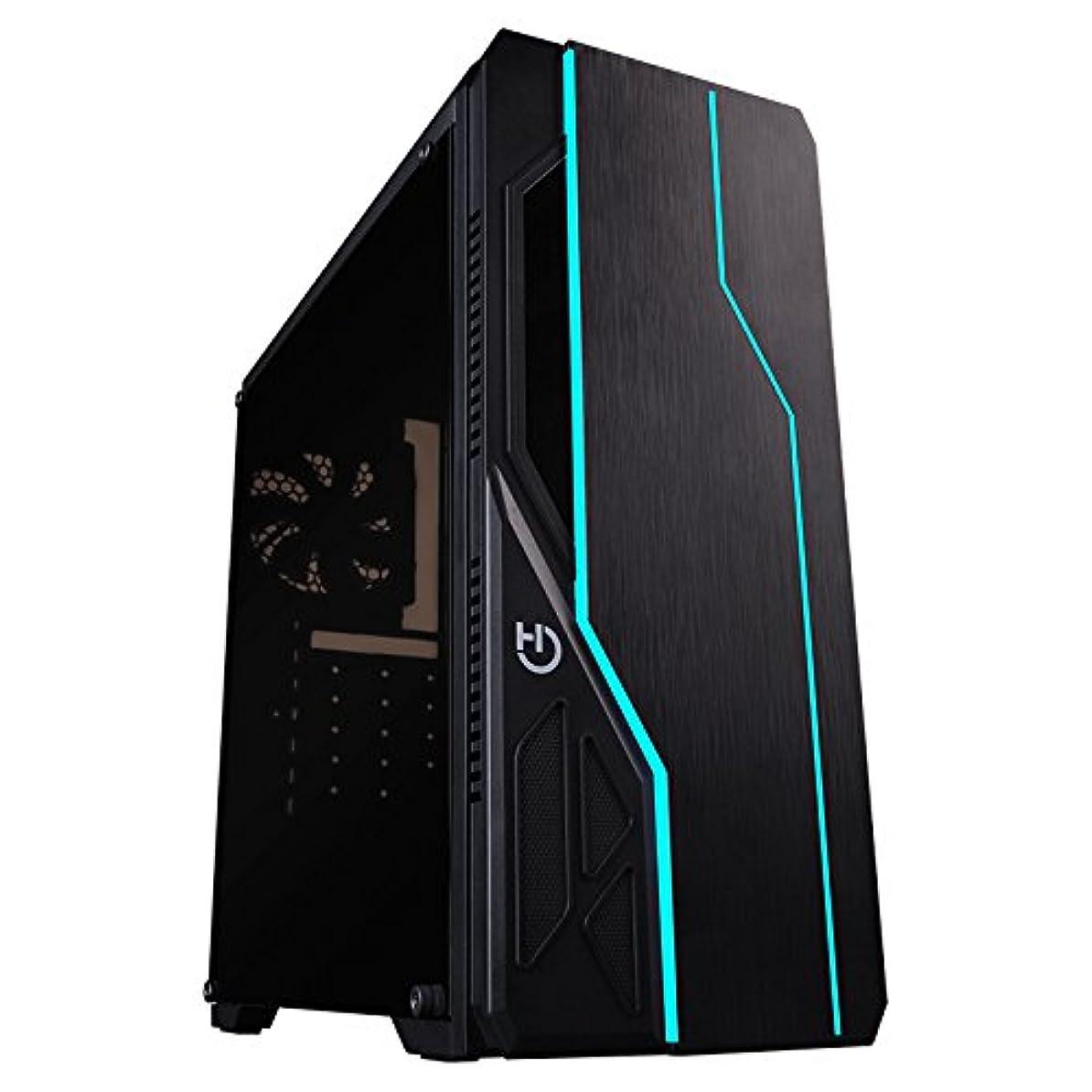 大臣高原調和Hiditec V10 RGBブラックタワーコンピュータケース - コンピュータの箱(タワー、PC、ABS樹脂、アクリル、メタル、SECC、ATX、Micro-ATX、ブラック、ゲーム)