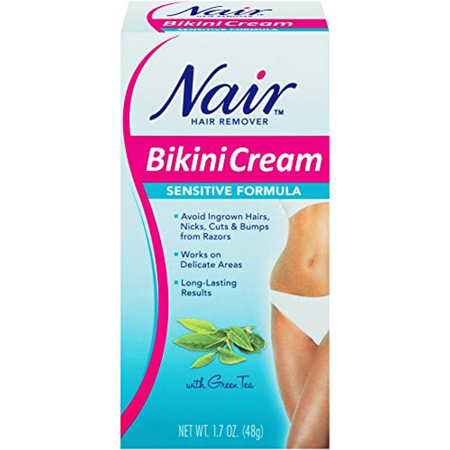 覚醒器具望遠鏡Nair hair remover bikini cream with green tea, Sensitive formula - 1.7 oz (並行輸入品)