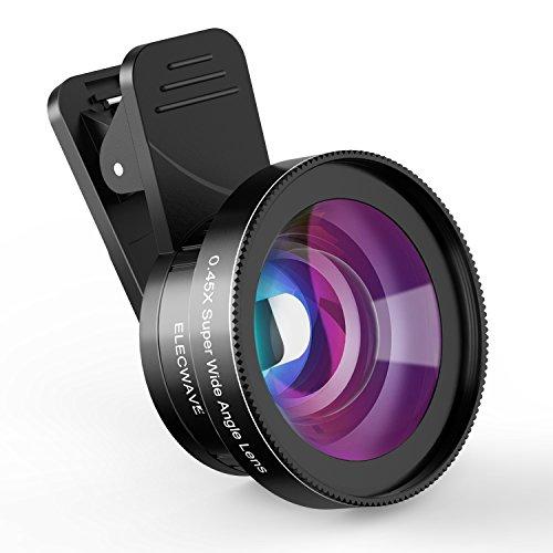 Elecwave スマホ用カメラレンズ クリップ式レンズ 0.45x 125°広角レンズ マクロレンズ 超大口径 iPhone/Android対応 簡単装着 EL01
