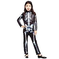 Te Fiti ハロウィン 仮装 子供 男の子 女の子 骷髅 骸骨 コスプレ衣装 M(身長110-120CM)