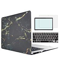 MSXUAN MacBook Pro 13ケース、CD/DVD ROM付き13インチMacBook Pro用キーボードスキンスクリーンプロテクター付きプラスチックホワイトマーブルハードカバーモデル:A1278(Non Retina)