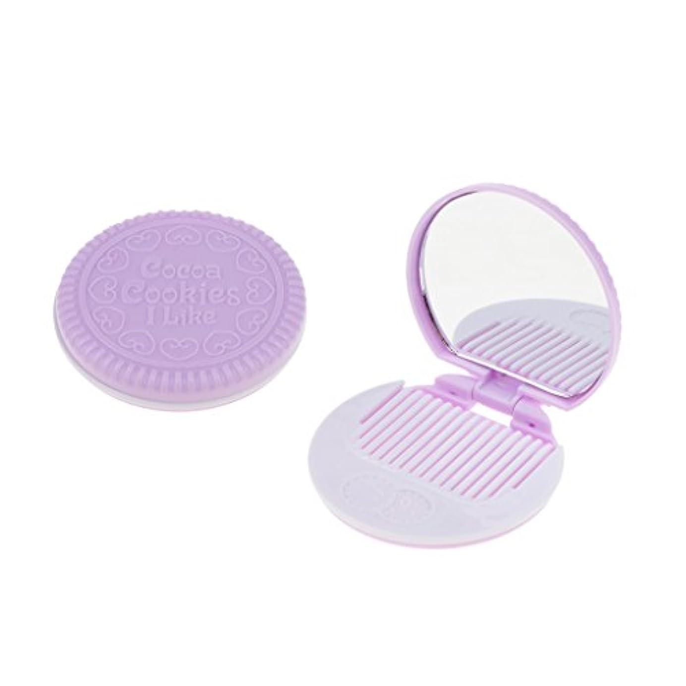 項目努力する崖2個入 メイクアップミラー 化粧ミラー 化粧鏡 コーム ポケットサイズ 可愛い ラウンド 折りたたみ 全4色 - 紫