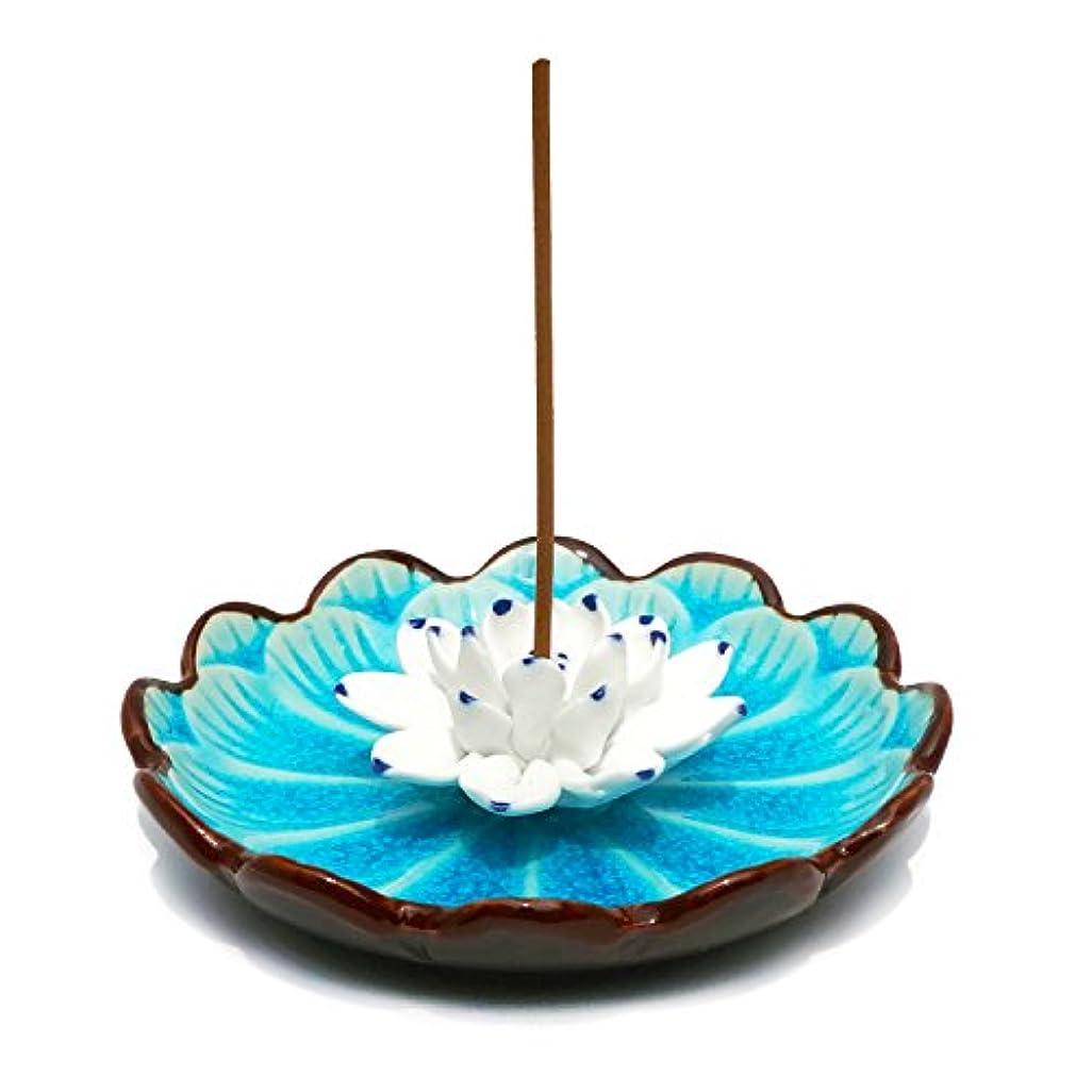 鉛筆グレードうれしい(Light Blue) - Incense Stick Burner Holder - Porcelain Decorative Flower Incense Burner Bowl - Ceramic Incense...