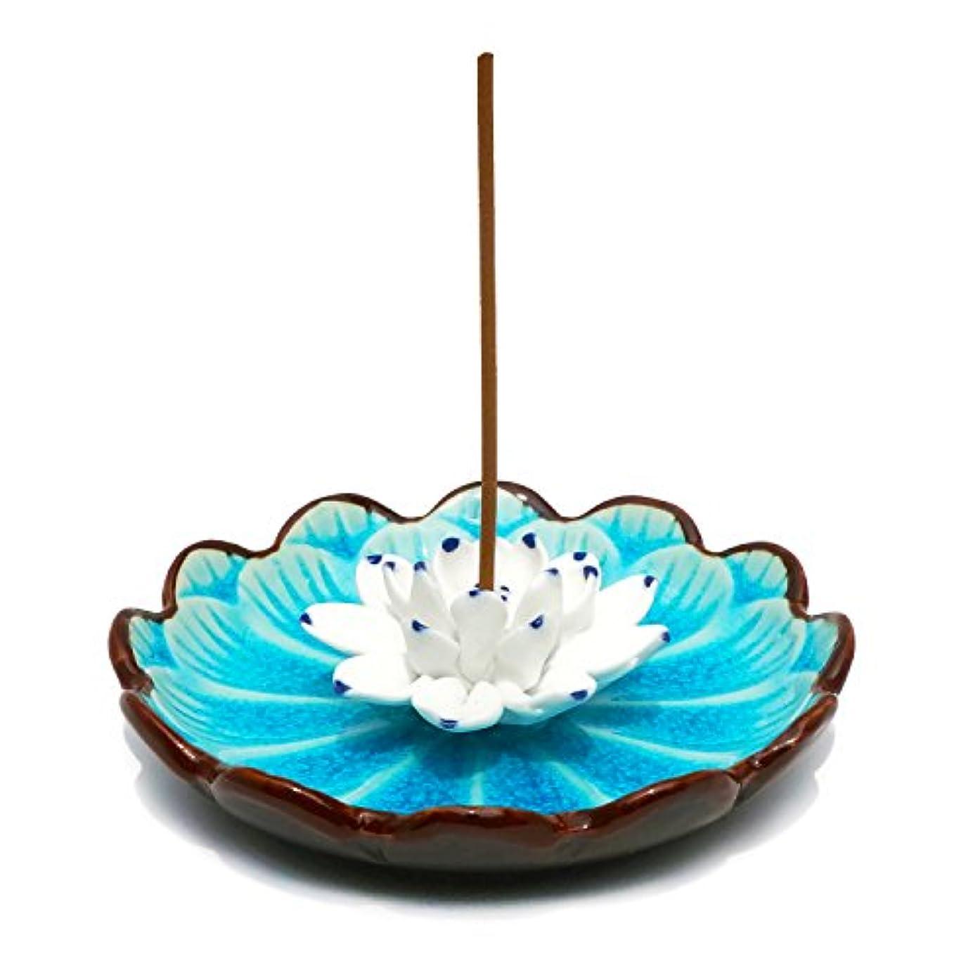 虎機知に富んだあえて(Light Blue) - Incense Stick Burner Holder - Porcelain Decorative Flower Incense Burner Bowl - Ceramic Incense...