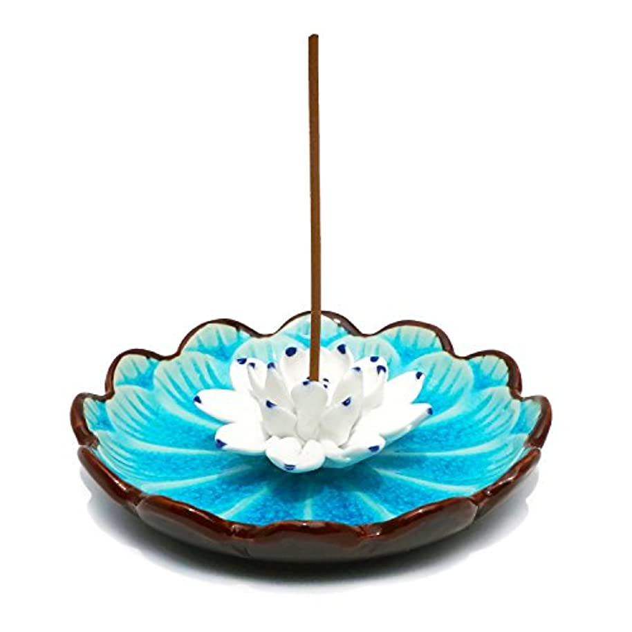 君主制適合しましたバイパス(Light Blue) - Incense Stick Burner Holder - Porcelain Decorative Flower Incense Burner Bowl - Ceramic Incense...