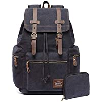 KAUKKO Canvas Vintage Backpack Casual Daypack School Leather Rucksack Laptop Bag