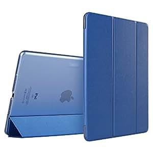 iPad Mini ケース クリア ESR iPad Mini2 ケース レザー PU iPad Mini3 ケース 軽量 スタンド機能 傷つけ防止 オートスリープ ハード三つ折 iPad Mini3/2/1(初代第二三世代)専用スマートカバー(ネイビーブルー)