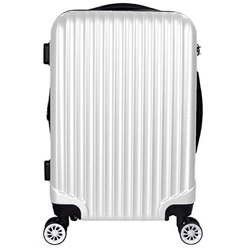 【神戸リベラル】 LIBERAL 軽量 S,M,Lサイズ スーツケース キャリーバッグ 容量アップ 8輪キャスター TSAロック付き (Sサイズ(1-3泊用 40/50L), ホワイト)