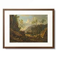 Johann Franciscus Ermels 「Felsige Landschaft im Abendlicht.」 額装アート作品