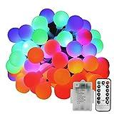 Oblong-HK 50 LED ストリングライト 5m 8種類の点灯モード リモコン 電池式 IP44防水 マルチカラー ボール型 飾り イルミネーションライト パーティー 結婚式 イベント クリスマス
