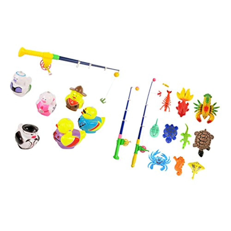 Perfeclan 全20個パック プラスチック製 釣り玩具 磁気 魚モデル 釣りバス玩具 ふり遊ぶ 子供玩具