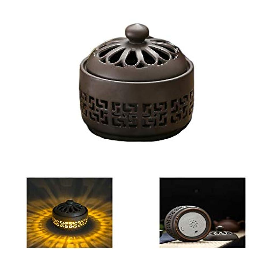 プレビュー中世の動機ホームアロマバーナー LED暖かい光香バーナーレトロノスタルジックなセラミック香炉高温アロマセラピー炉 アロマバーナー (Color : Earth tones)