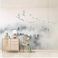 Xbwy カスタム壁画壁紙現代のシンプルな鳥マツ森林雲写真壁画リビングルームの寝室の家の装飾フレスコ画-280X200Cm
