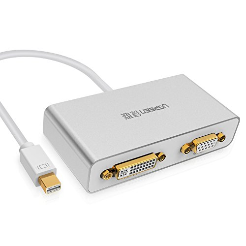 Ugreen 3 in 1 Mini Displayport to HDMI VGA DVI 変換アダプタ 1080p MacBook Pro Apple iMac Macbook Air Mac Mini Microsoft surface pro Thinkpad Dell等対応 ホワイト