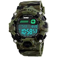 Wrist Watch for Men and Boys with Digital Display, 50M Waterproof Outdoor Sports Watch with Alarm, Chronograph and Large LED Light Screen, Shock Resistant Watch