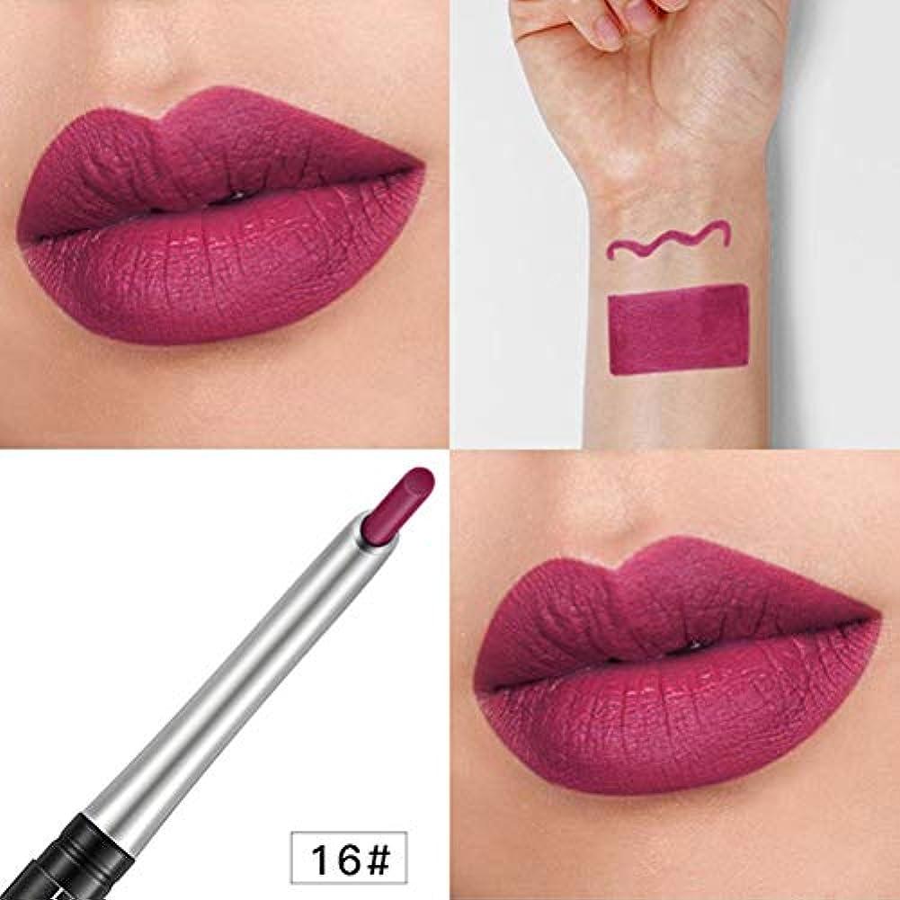 混乱させるスリム求めるRabugogo 女性のマットリップライナー防水口紅鉛筆長持ちLlipliner唇メイク 16#