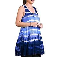 AGAING 女性レース夏のグラデーションノースリーブTシャツドレス Blue S