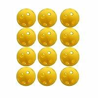 Mingna イエローピックルボール、屋内または屋外用 70 mm ポリホローボール スポーツ練習または遊び用 (12個/パック)