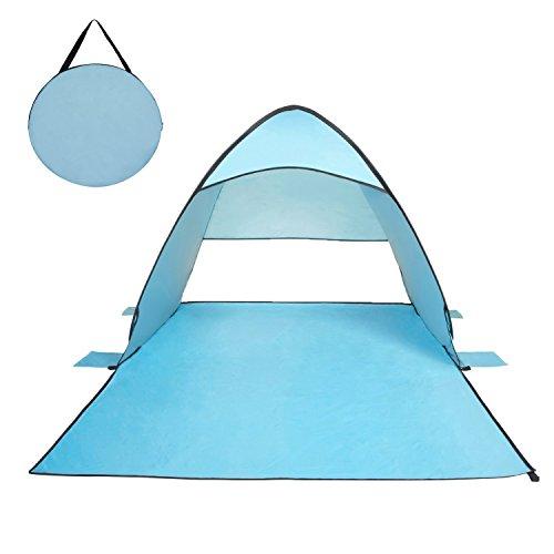 輝点 サンシェードテント 2-3人用テント SPF50+日除け ワンタッチで簡単 海水浴・砂浜・ビーチ・プールに最適 キャリーバッグ付き ブルー