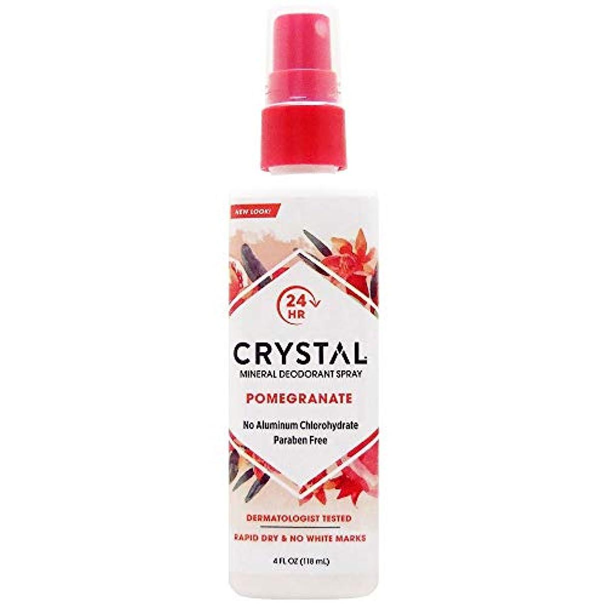 準備フライトハッピーCrystal Essence 486522 Crystal Essence Mineral Deodorant Body Spray Pomegranate - 4 fl oz