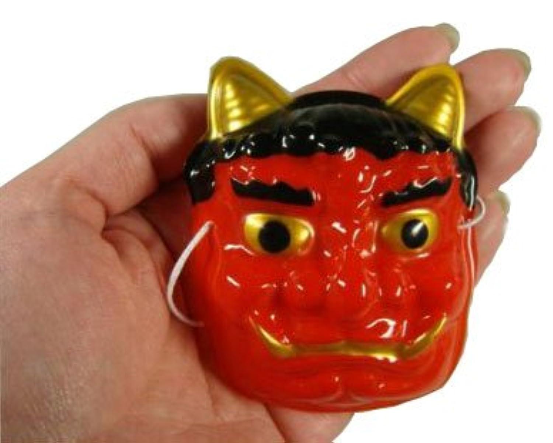 【節分】 お面 豆オニ(赤) 約75mm 12枚入  / お楽しみグッズ(紙風船)付きセット
