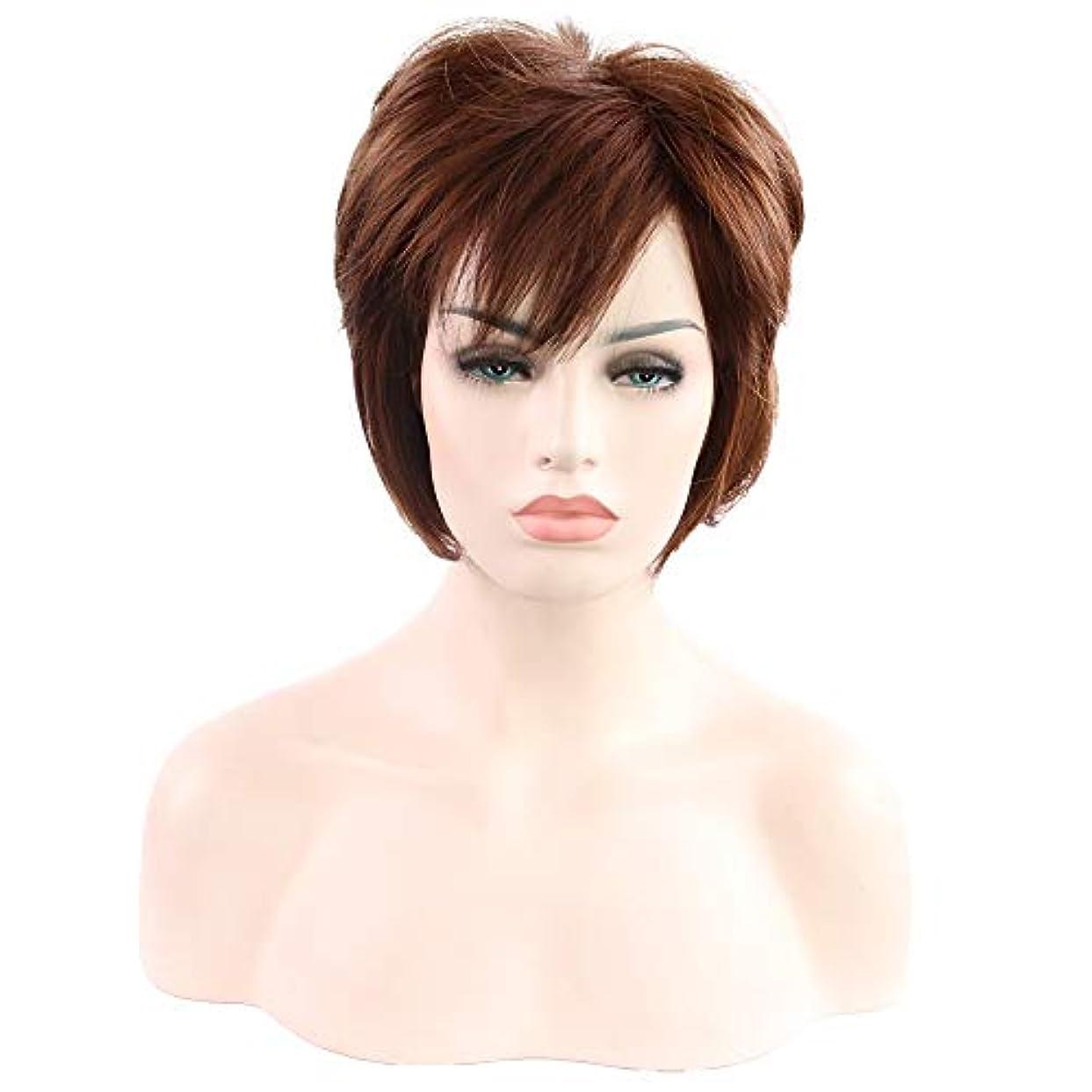 墓地猛烈な悪意女性用ブラウンショートカーリーヘアウィッグ自然髪ウィッグ前髪付き合成フルヘアウィッグ女性用ハロウィンコスプレパーティーウィッグ
