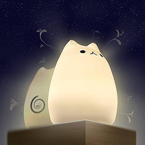 【萌えニャンコ呼吸ランプ】 ZNT ベッドサイドランプ LED デスクライト 猫ランプ改良版 24連続照明 柔らかいシリコン 呼吸モード USB充電 電球色 可愛い プレゼント ZNT-C101(ホワイト)